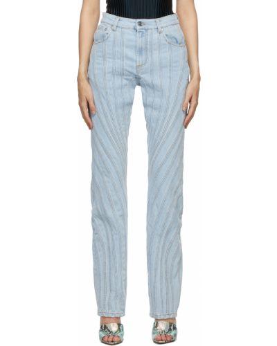 Джинсовые широкие джинсы - черные Mugler