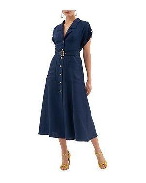 Синее повседневное платье из вискозы Luisa Spagnoli