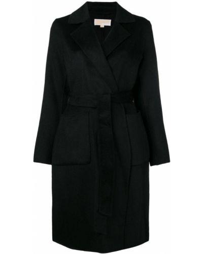 Шерстяное черное пальто классическое с поясом Michael Michael Kors