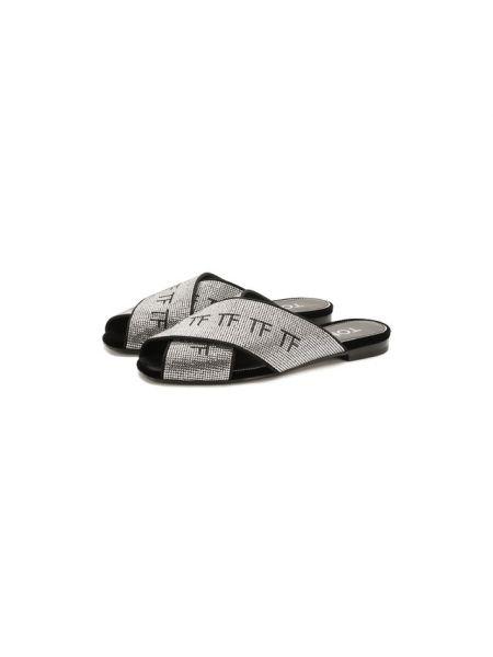 Замшевые серебряные шлепанцы на каблуке с декоративной отделкой Tom Ford
