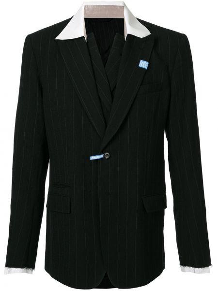 Черный классический пиджак на пуговицах с лацканами с карманами Maison Mihara Yasuhiro