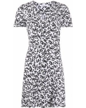 Белое платье мини с вырезом с короткими рукавами из вискозы Calvin Klein Jeans