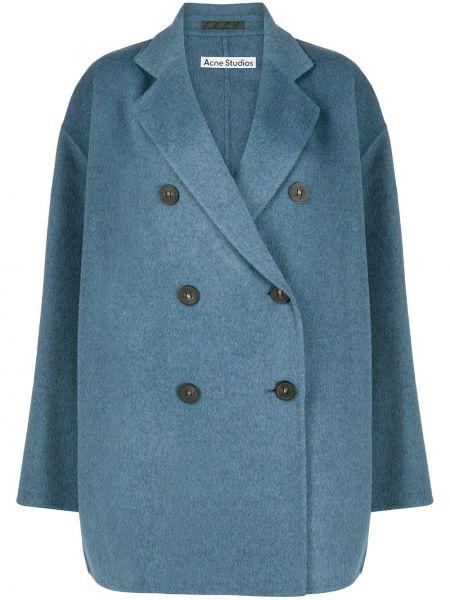 Синее шерстяное пальто оверсайз на пуговицах Acne Studios