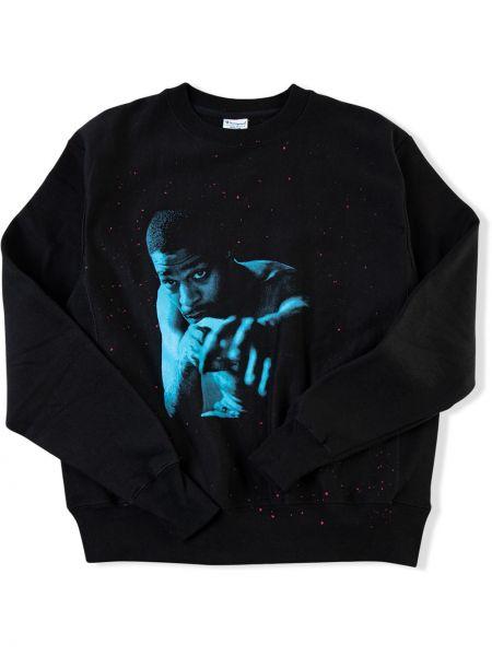 Czarna bluza długa z długimi rękawami bawełniana Kid Cudi