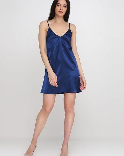 Платье с V-образным вырезом - синее Кристина Мамедова