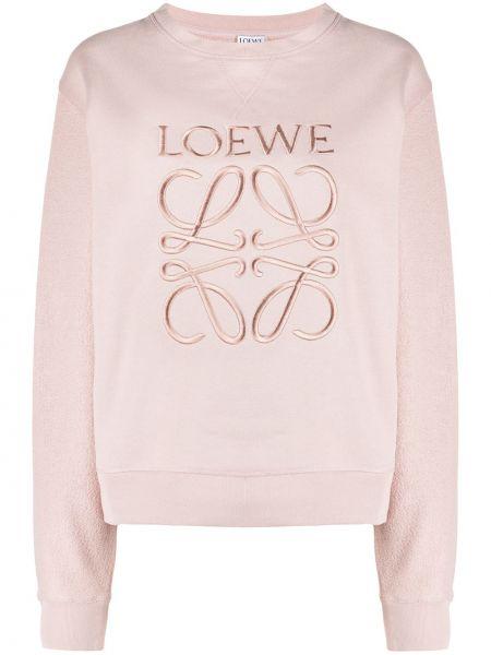 Прямая розовая толстовка с вышивкой с вырезом Loewe