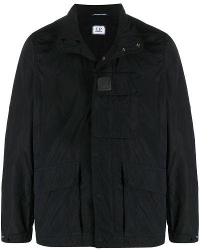 Черная длинная куртка с воротником с длинными рукавами C.p. Company