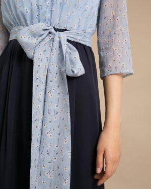 Платье миди с цветочным принтом с поясом Emka