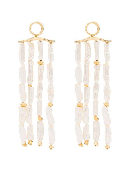 Żółte złote kolczyki sztyfty perły Joanna Laura Constantine