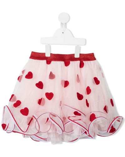 Różowa spódnica z haftem Charabia