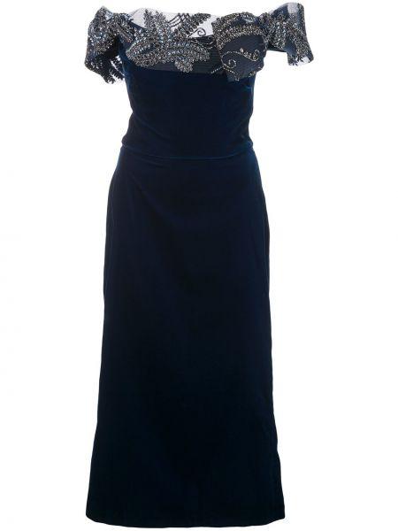 Облегающее синее платье миди с вышивкой Marchesa