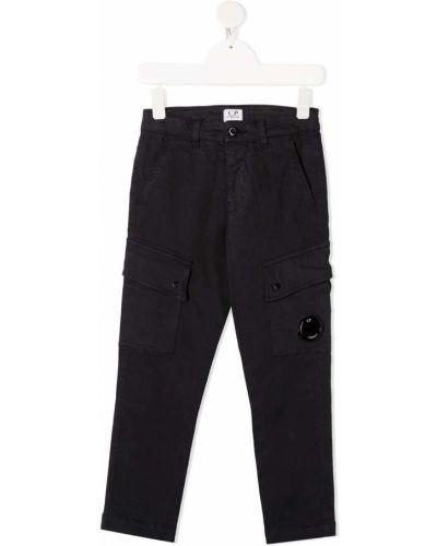 Хлопковые прямые синие брюки карго с карманами Cp Company Kids
