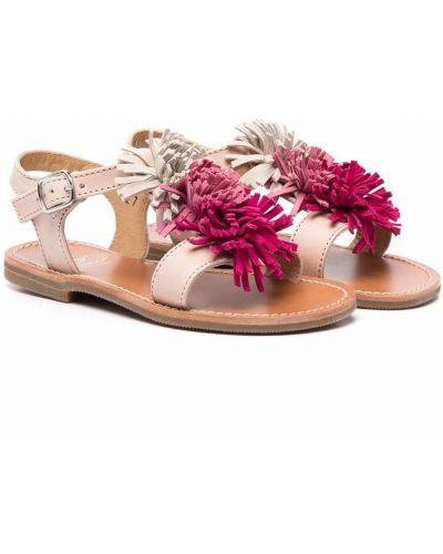 Beżowe sandały skorzane z frędzlami Gallucci Kids
