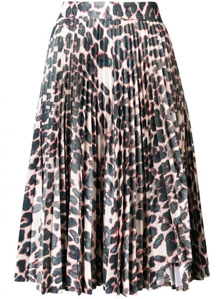 Плиссированная юбка леопардовая на молнии Calvin Klein