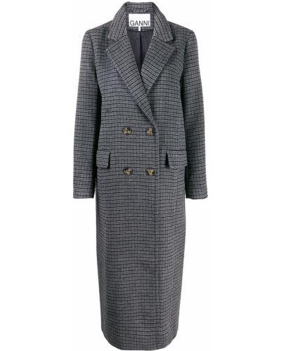 Синее шерстяное пальто двубортное Ganni