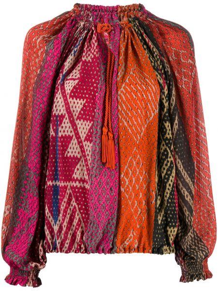 Шелковая блузка с длинным рукавом с вырезом с кисточками с завязками F.r.s. For Restless Sleepers