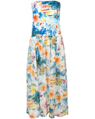 Платье без бретелек с принтом Blumarine