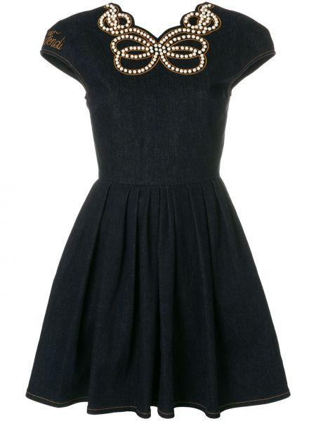 Приталенное синее платье мини с вырезом Fendi