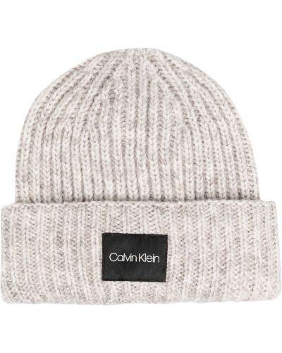 Шерстяная шапка бини - серая Calvin Klein