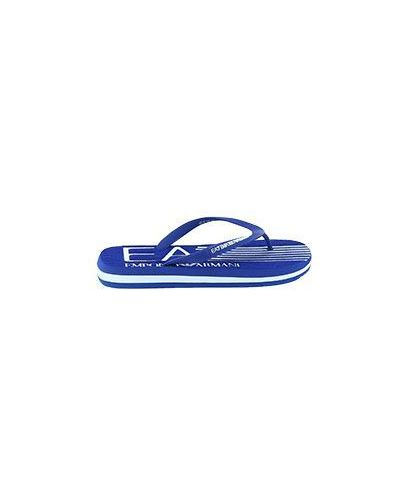 Синие сланцы с логотипом Ea7