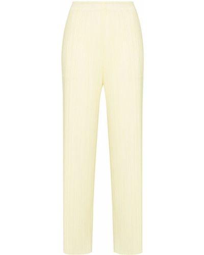 Желтые укороченные широкие брюки Pleats Please Issey Miyake