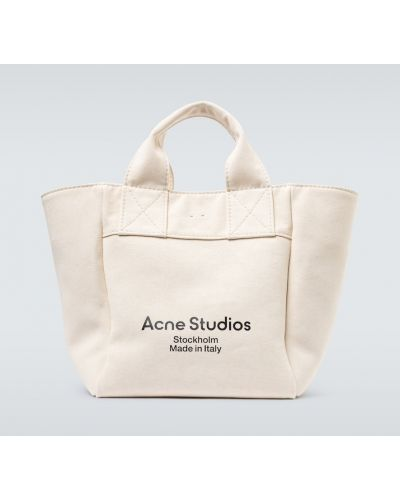 Beżowy bawełna torba na zakupy z prawdziwej skóry z kieszeniami Acne Studios