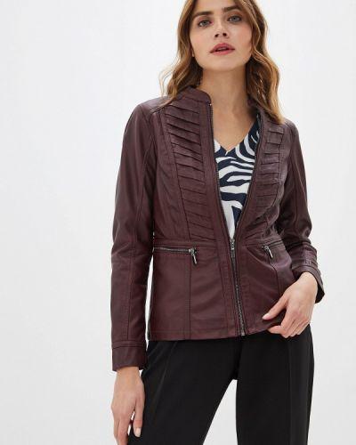 Кожаная куртка осенняя бордовый Wallis