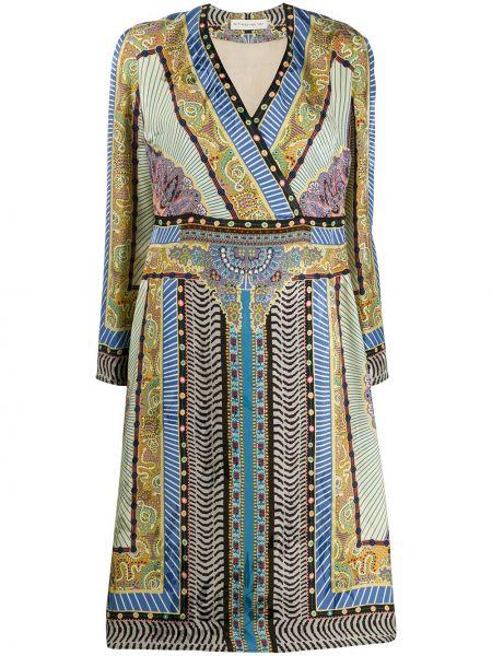Свободное расклешенное шелковое платье миди на молнии Etro