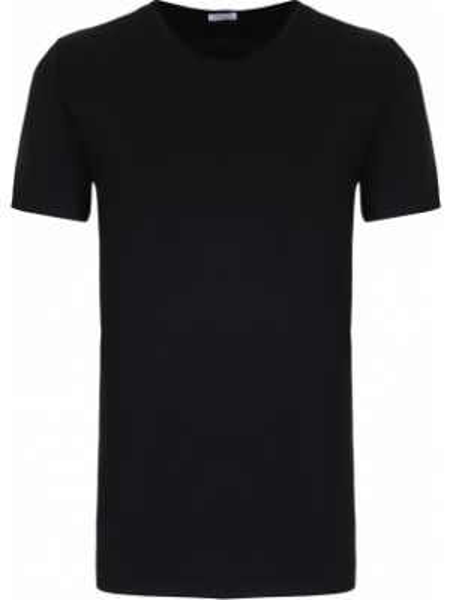 Хлопковая черная базовая футболка с круглым вырезом Zimmerli