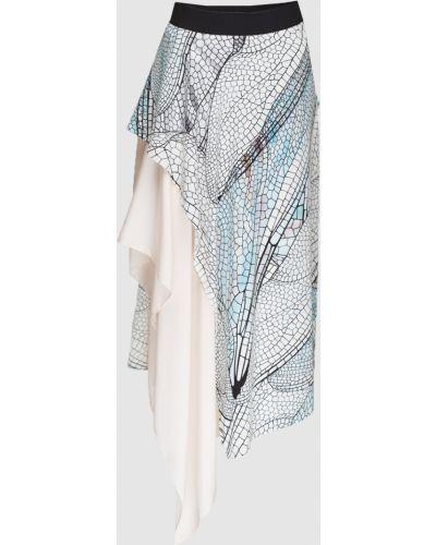 Шелковая юбка миди - голубая Vionnet
