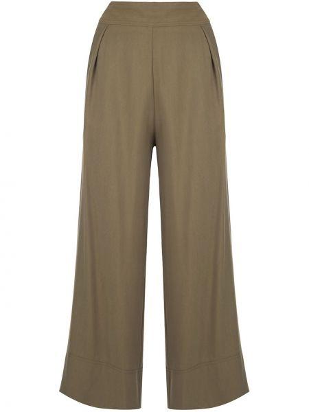 Зеленые укороченные брюки с карманами свободного кроя из вискозы Natori
