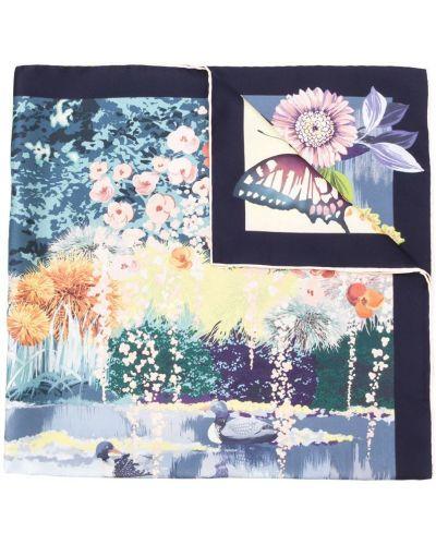 Синий шарф с цветочным принтом Salvatore Ferragamo