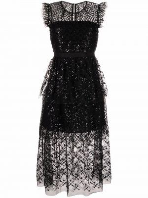 Платье миди из фатина - черное Self-portrait