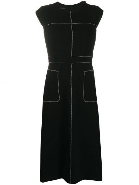 Черное платье без рукавов с вырезом с карманами Escada