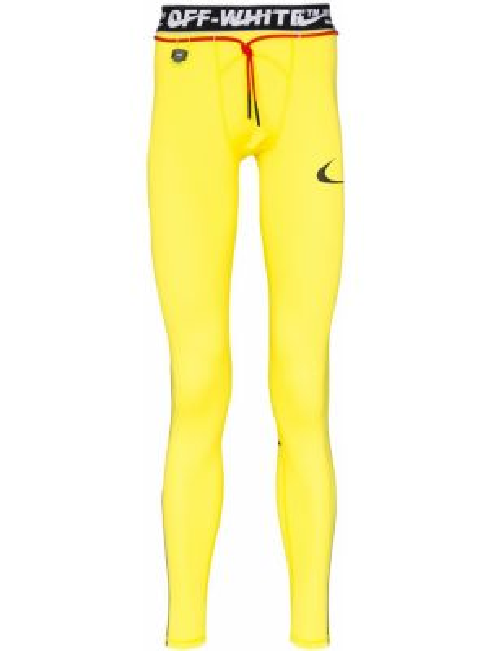 Żółte legginsy z printem Nike X Off White