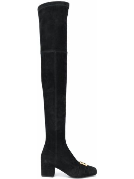 Черные кожаные ботфорты на молнии квадратные Balmain