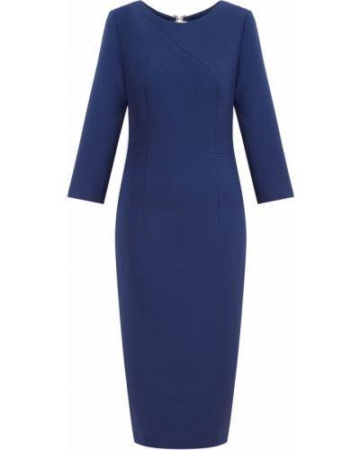 Шерстяное синее платье с вырезом до середины колена Laroom