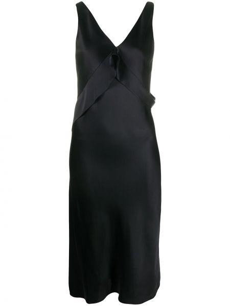 Платье с V-образным вырезом черное Helmut Lang