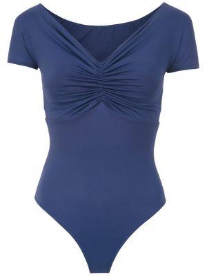 Niebieski strój kąpielowy z dekoltem w serek krótki rękaw Amir Slama