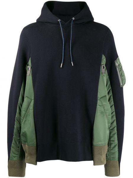 Zielona bluza długa z kapturem z długimi rękawami Sacai