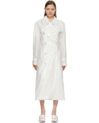 Biały długi płaszcz z paskiem asymetryczny Junya Watanabe