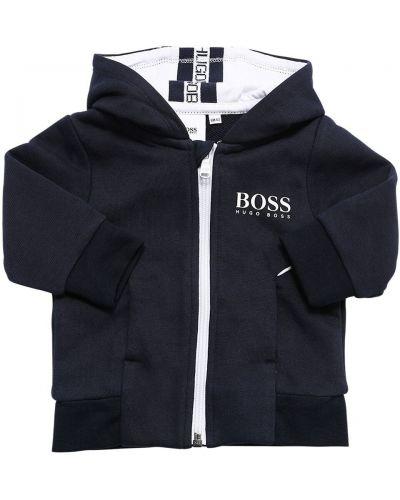 Bawełna niebieski bluza z mankietami z kieszeniami Hugo Boss