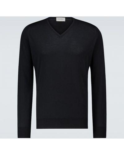 Черный шерстяной свитер с V-образным вырезом John Smedley
