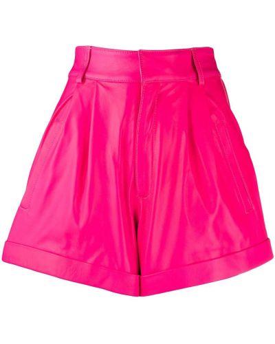 С завышенной талией розовые кожаные шорты Manokhi