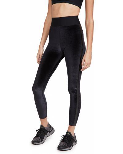 Czarne legginsy w paski z nylonu Ultracor