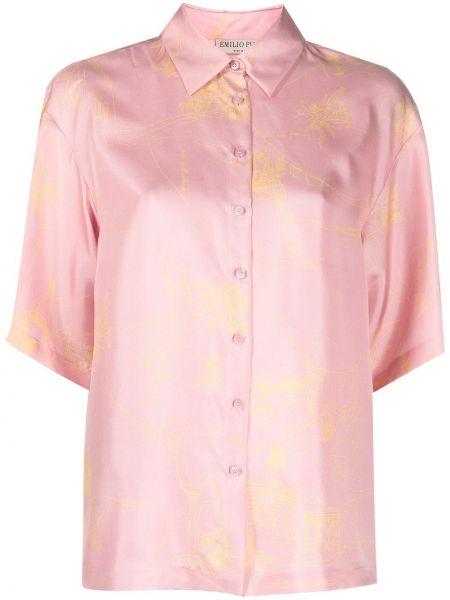 Розовая шелковая классическая рубашка с короткими рукавами Emilio Pucci
