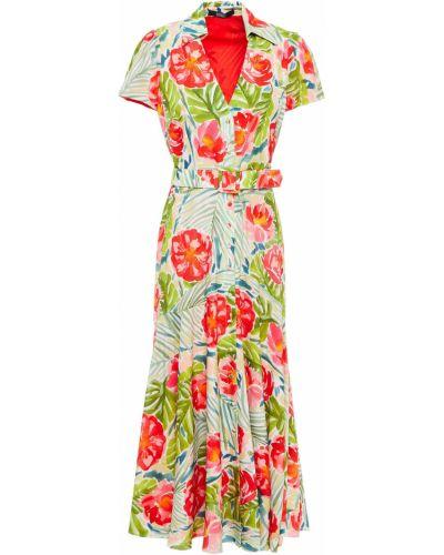 Платье миди с принтом - зеленое Badgley Mischka