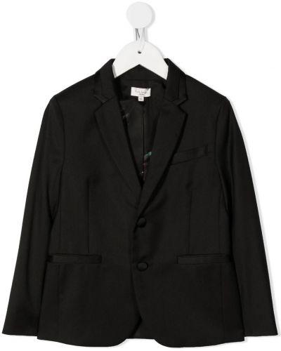 С рукавами черный пиджак на пуговицах с лацканами Paul Smith Junior