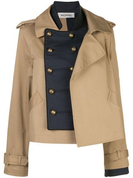 Расклешенная коричневая куртка с воротником из искусственного меха Monse