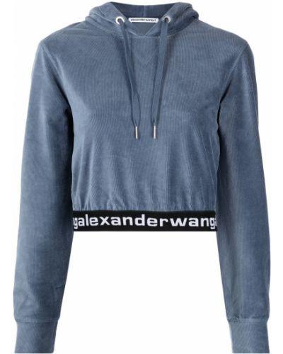 Синее худи на шнуровке Alexanderwang.t